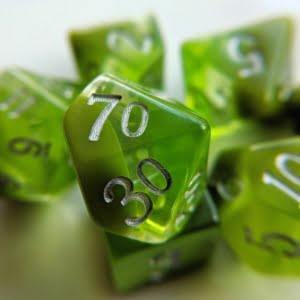 peridot dice on white