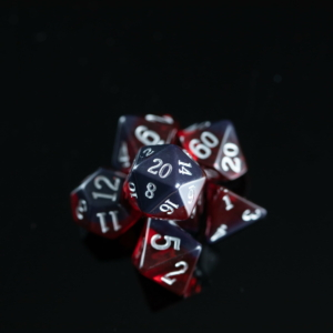 garnet birthday dice on black background