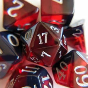 Garnet Birthday dice on white background