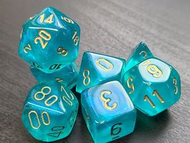 Borealis Teal/Gold - 7 Piece Dice Set - CHX27486