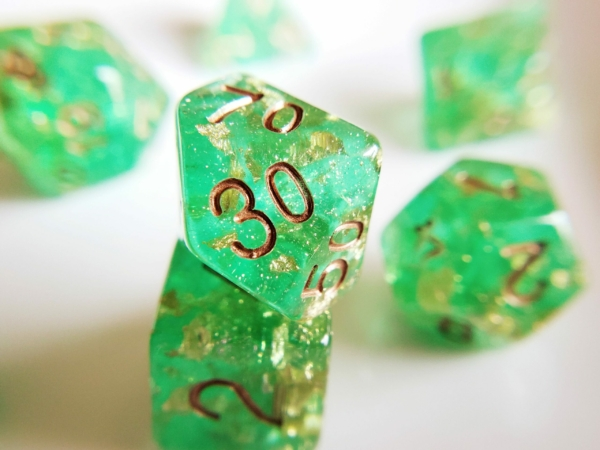 Wedding Dice green and Gold