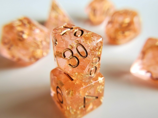 Wedding Dice peach and Gold