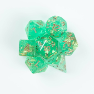 green wedding dice on white background