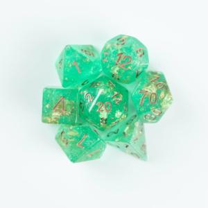 green wedding dice on white background