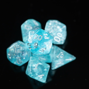 Light Blue & Silver Wedding Dice on a Black Background