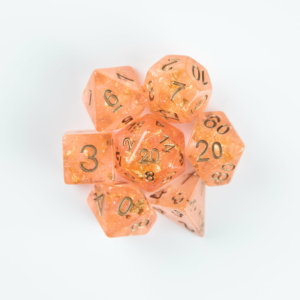 Peach Dice on White Background