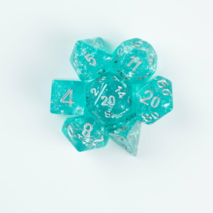 Teal and Silver wedding dice on a white background