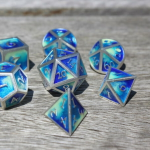metal water dice blue and silver