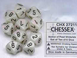 OOP Chessex Mother of Pearl White with Black