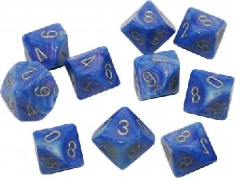 OOP Chessex Mother of Pearl Blue and Silver