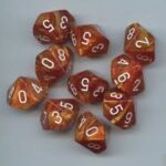 OOP Chessex Lustrous Bronze with White