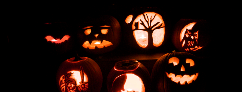 An image of pumpkins carved for Hallowe'en