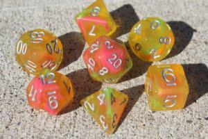 Terra dice on a sidewalk